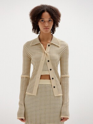 SINKY Ribbed Knit Cardigan - Beige/Black Stripe