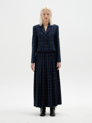 SOVEL Buttoned Pleated Skirt - Navy