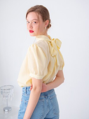 ELEGANT BACK TIE BLOUSE_YELLOW