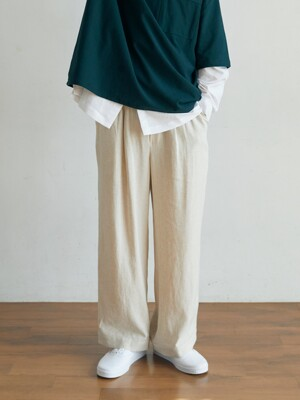unisex back tuck pants beige