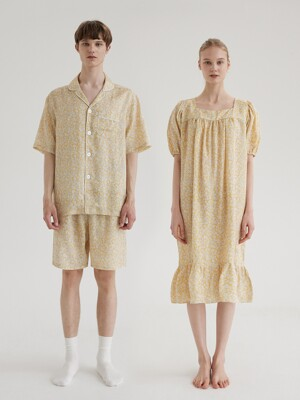 (인견) (couple) Chamomile Short Pajama Set + One-Piece