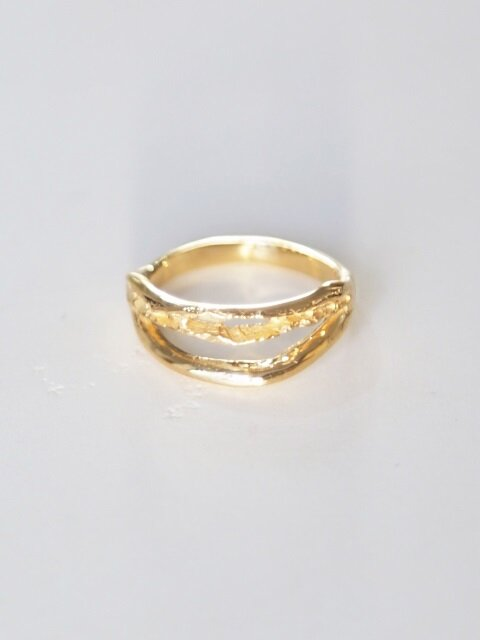 2 Line bone ring - gold