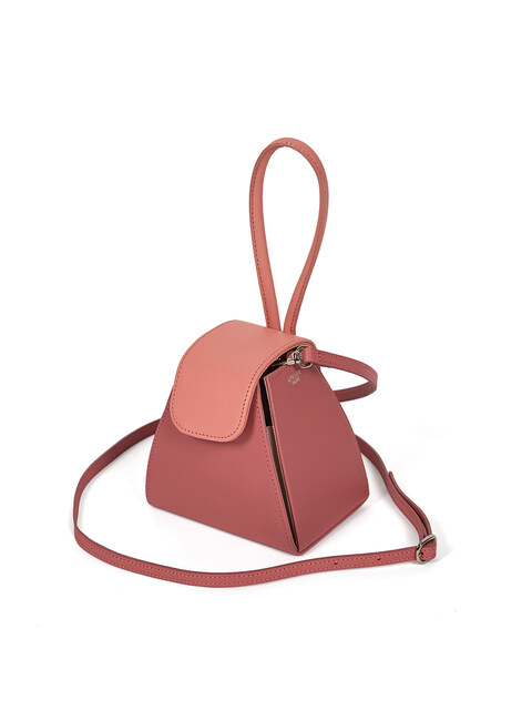 COLOR BLOCK HANDLE BAG - PINK/BABY PINK