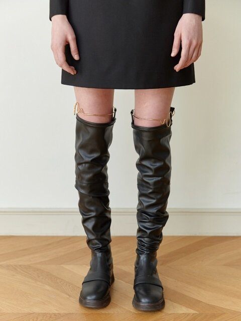 18FW FAUX-LEATHER KNEE-HIGH BOOTS (BLACK)