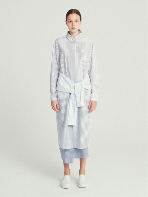 STRAPPED SHIRT LONG DRESS (STRIPE)