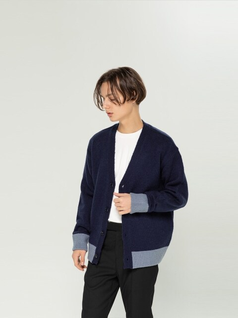 Color Block Wool Cardigan [ Navy Powder ]