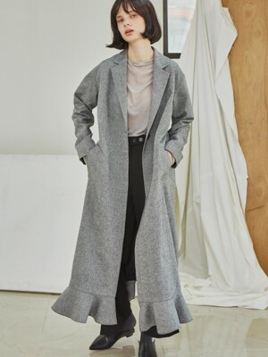 Single Button Ruffle Coat_Gray