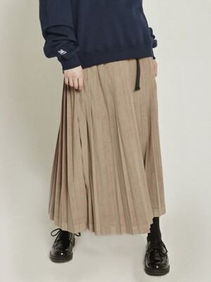MG8F PLEATS LONG SKIRT (BEIGE)