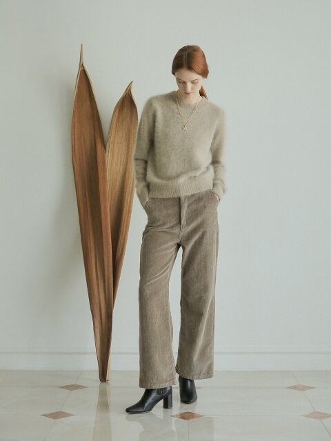 WIDE CORDUROY PANTS K.BRWON