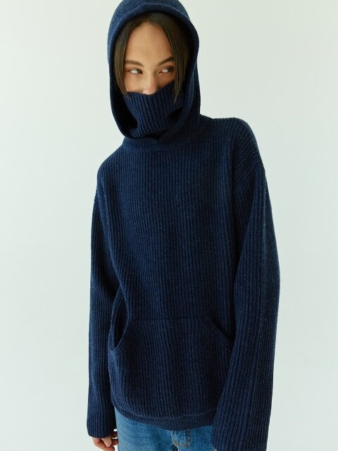 18FW 09 lamb's wool hood turtle knit (cobalt blue)