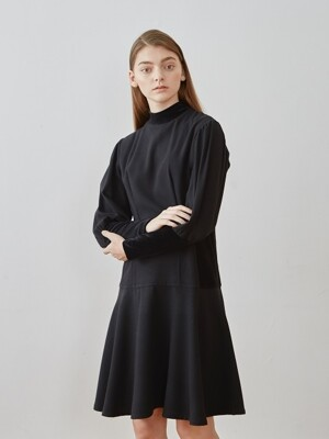 high neck dress-black