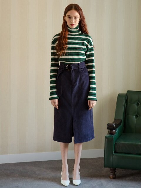 NAVY CORDUROY H SKIRT