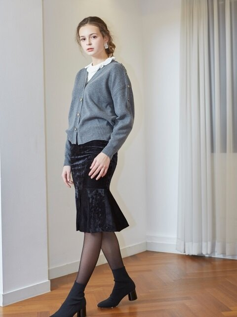 VELVET MERMAID SKIRT_BLACK
