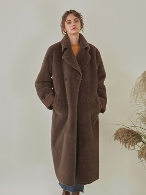 DOUBLE FACED LONG MUSTANG COAT_BROWN