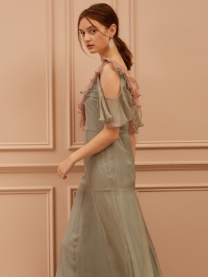 Frilled Cut-Out Maxi Silk Dress
