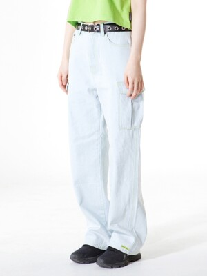STITCH POINT CARGO DENIM PANTS [LIGHT BLUE]