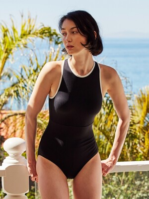 RIBBED HALTERNECK SWIM_BLACK
