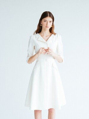DIANA V-neck notched collar flared dress (Ivory)