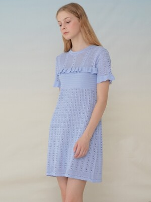 monts949 lace frill knit dress (skyblue)