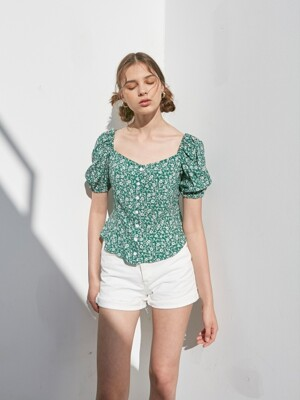 FLORAL PUFF SLEEVES BLOUSE_GREEN