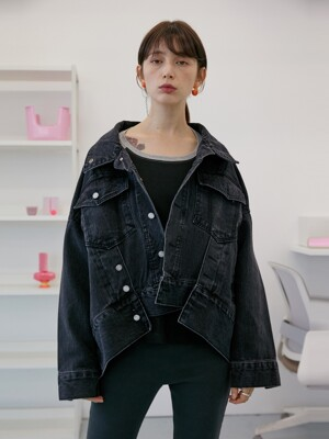 Drape Layered Denim Jacket (Dark Gray)