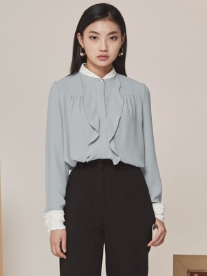 PEARL COMBINATION BLOUSE BLUE