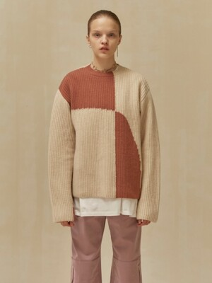 19 WINTER LOCLE COLOR BLOCK KNIT - PINK
