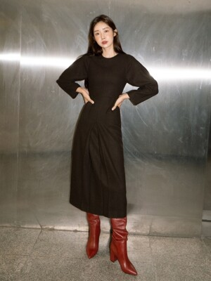 [EXCLUSIVE] NTW WOOL COCOON SLEEVE DRESS 2COLOR