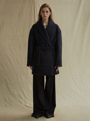 19FW SHAWL COLLAR COAT - NAVY CHECK