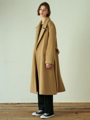 over fit a-line coat (beige)