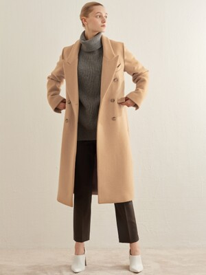 WOOL DOUBLE BREASTED COAT_BEIGE