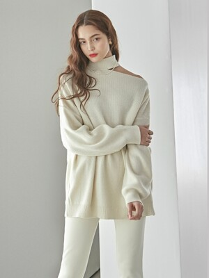 CHOKER SLIT LONG KNIT_CREAM