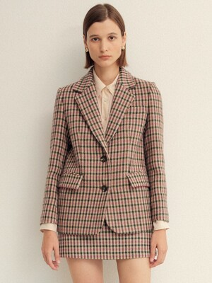 PINK GINGHAM CHECK SINGLE FIT WOOL JACKET  (핑크 깅엄 체크 싱글핏 울 자켓)