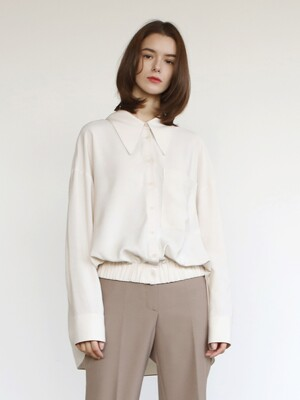 Banding strap shirt_Cream