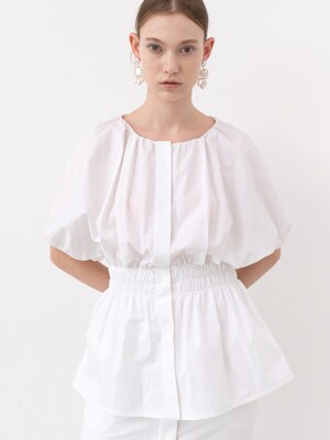 20SS VOLUMINOUS HALF-SLEEVE BLOUSE (WHITE)