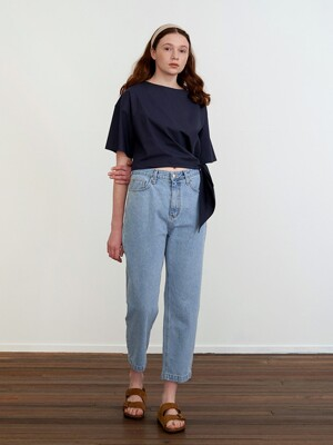 SIDE BUTTON DENIM PANTS - LIGHT BLUE