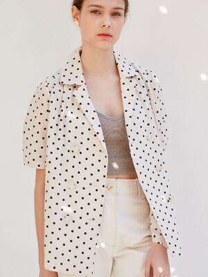 comos'354 dot double blouse (light beige)