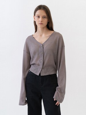 SHEER CARDIGANS WOMEN [BROWN]