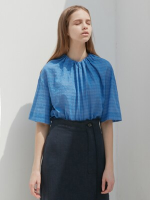NECK STRING BLOUSE_BLUE