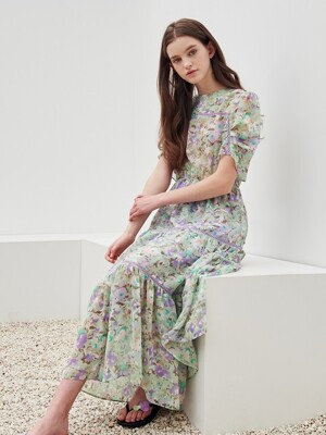 Flower print cancan dress_Lavender green