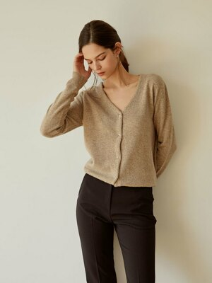 Basic V-neck Cardigan(Brown)