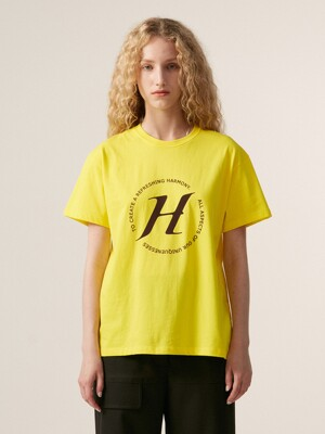 LETTER PRINT BASIC T-SHIRT, YELLOW