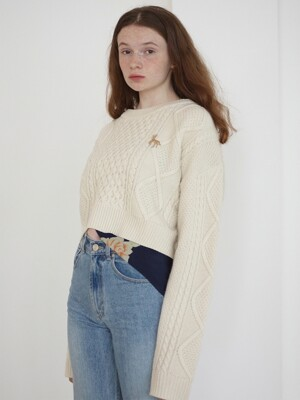 [BC20AWKN06] CABLE BACK OVER TIE KNIT TOP [IVORY]