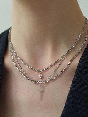 [Surgical_2 SET] Flat & Tiny Cross Necklace