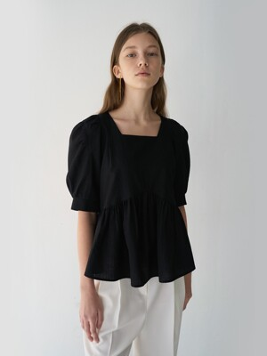 21' Spring_Black Square Neck Blouse