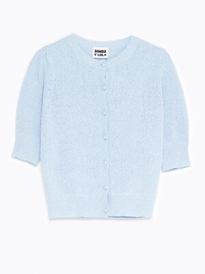 Blue puff sleeve cardigan_B215AWG071BL