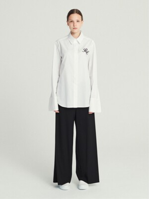 [MATERIALS] OVER-CUFFS SLEEVE SHIRT (WHITE/BLACK)