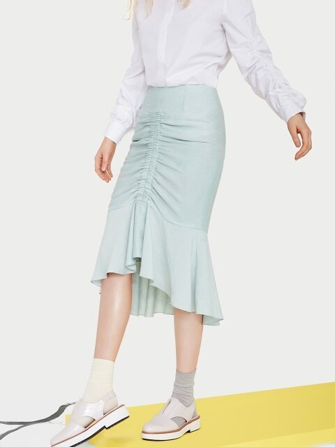 Mint Shirring Skirt