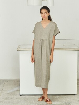 v-neck linen-blend long tunic dress