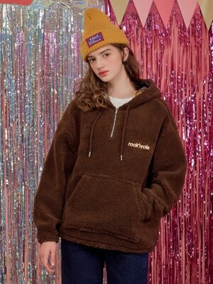 (HD-18739) BOUCLE KANGAROO HOOD T-SHIRTS BROWN
